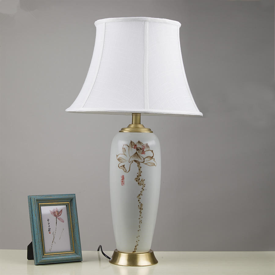 White vintage chinese porcelain ceramic table lamp bedroom - Porcelain table lamps for living room ...