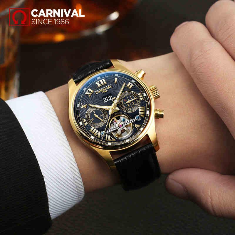 купить Carnival New Fashion Tourbillon Automatic Watches Top Brand Luxury Men Watch Multifunction Month Week Date Waterproof Luminous по цене 5956.58 рублей