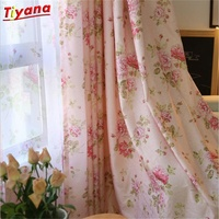 Blue Floral Curtain For Living Room Luxury Semi Blind Drape Window Panel Fabric Curtain For Bedroom Shading Pink Sheer ZH433 *30