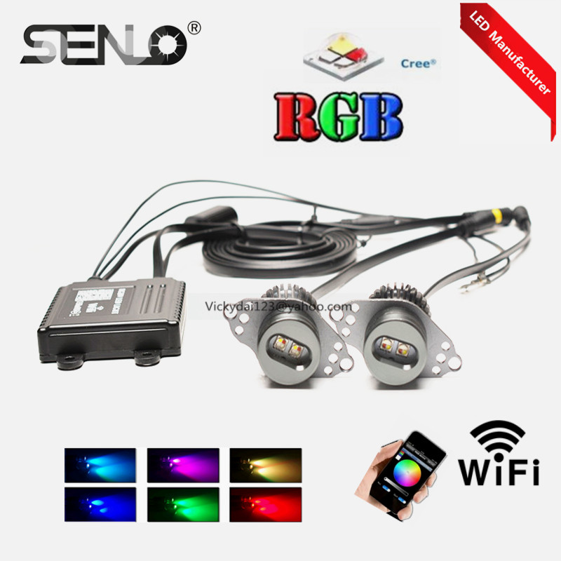 Colors changing E90 e90LCI led angel eyes rgb wifi halo ring 40w for BMW E90lci phone controller