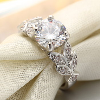 Crystal Silver Color Rings Leaf Engagement Gold Color Cubic Zircon Ring 3