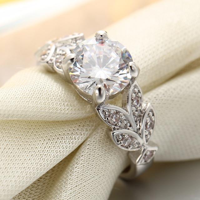 SI ME De Mariage Cristal Couleur Argent Anneaux Feuille de Fiançailles Or couleur Zircon Cubique Anneau De Mode Nouvelle Marque Bijoux Pour Femmes bijoux 1