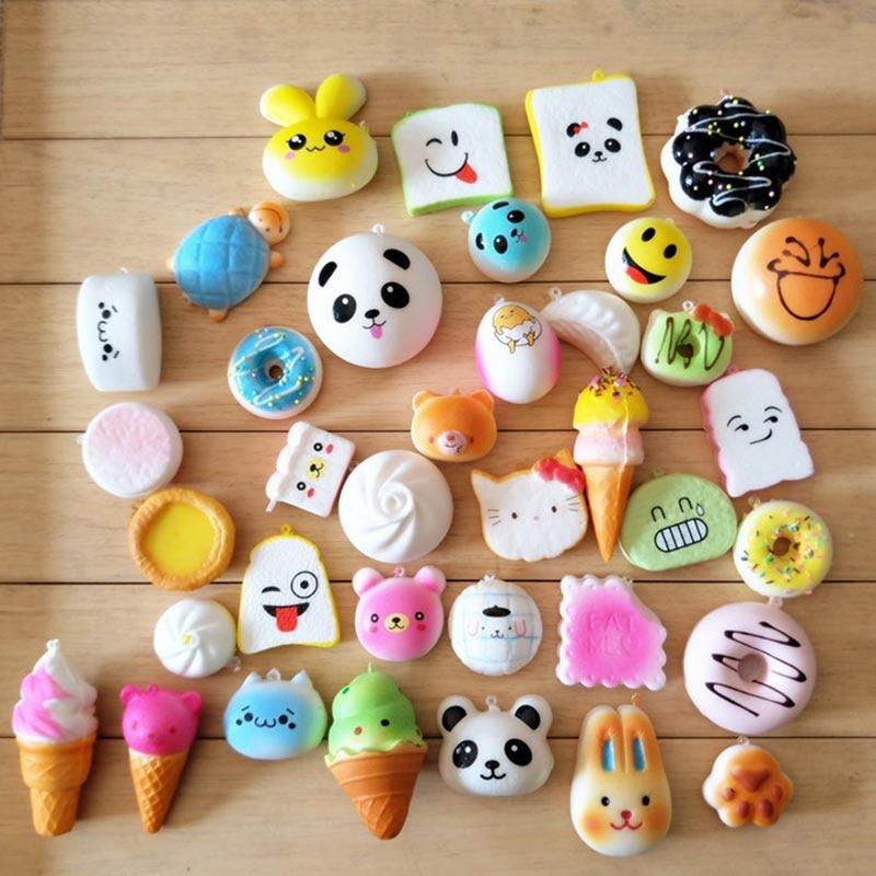 20Pcs/lot Slow Rising Squishy Squeeze Cute Soft Cartoon Mini Panda Bread Cake ice Cream Donuts ...