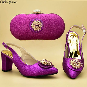 WENZHAN Shoes and Bag Set African Sets 2019 Nigerian Women Party Shoes with Bag Set Decorated With Appliques Luxury Shoes D95-7