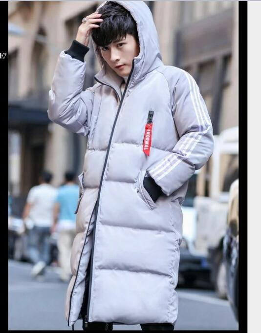 Free shipping 2018 hot style men's down padded jacket Korean version slim long style casual padded jacket in pure color 12
