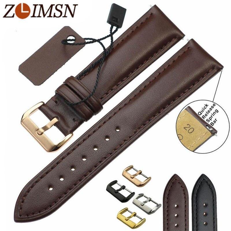 ZLIMSN Genuine Leather Watchband Men's Women Watch Band Black Brown Replacement 18 20 22 24mm Watches Accessories Relojes Hombre