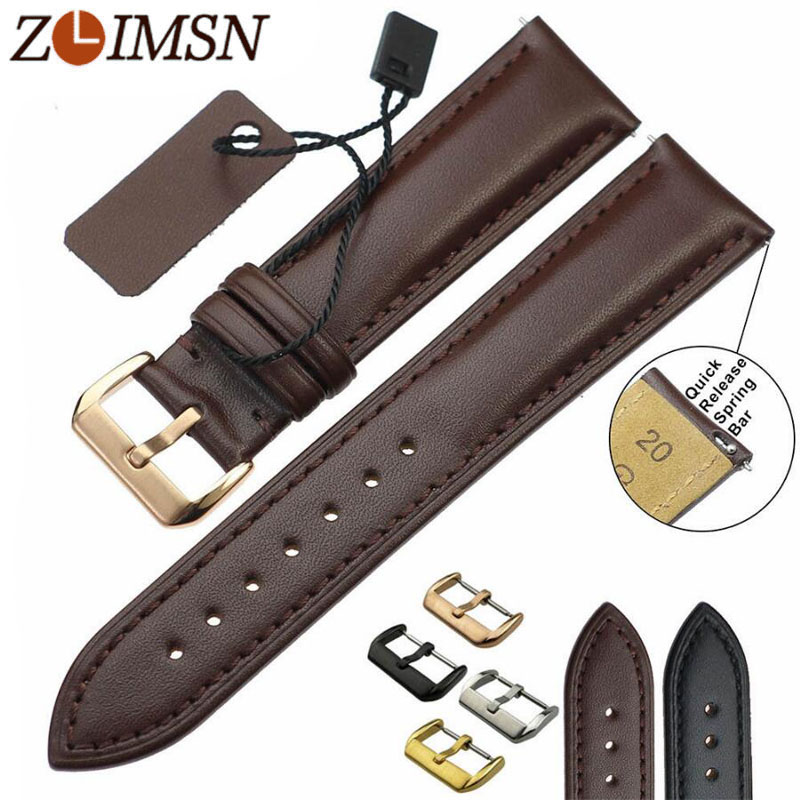 ZLIMSN Véritable Bracelet En Cuir Hommes Femmes Bande de Montre de Noir Brun Remplacement 18 20 22 24mm Montres Accessoires Montres Hombre