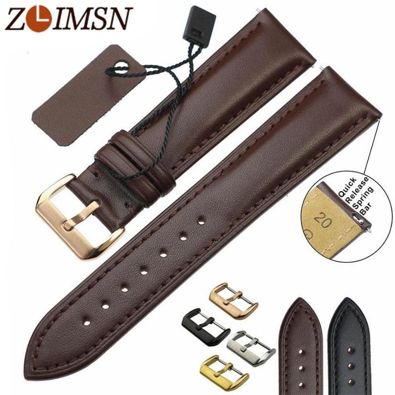 ZLIMSN cuero genuino Correa hombres mujeres banda de reloj negro marrón reemplazo 18 20 22 24mm Relojes accesorios Relojes hombre