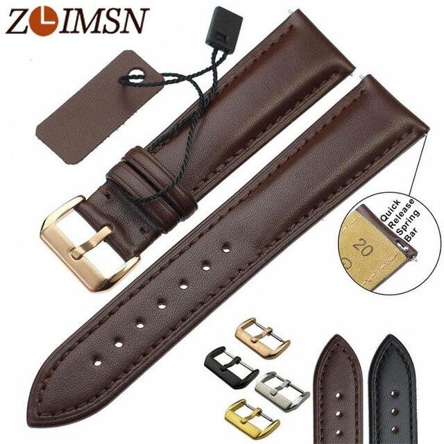 ZLIMSN пояса из натуральной кожи ремешок для часов для мужчин's Женщин Смотреть Band чёрный; коричневый заменить мужчин t 18 20 22 24 мм