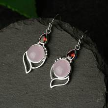 Women Light Pink Natural Hibiscus Stone Drop Earrings Elegant Vintage Crystal Silver Water Drop Shaped Dangle Earring Jewelry(China)