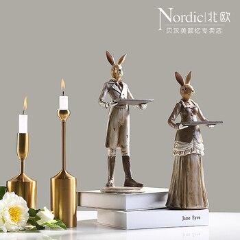 Creative American Retro Resin Ornaments Rabbit Nordic Modern Desktop Decor Decoration Home Furnishing Animal Figurine Study Room