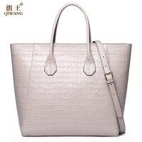 Qiwang التمساح المرأة حقيبة كبيرة فاخرة أنيقة الأعلى مقبض حقائب ماركة نساء حمل حقائب 100% حقيبة جلد طبيعي أبيض