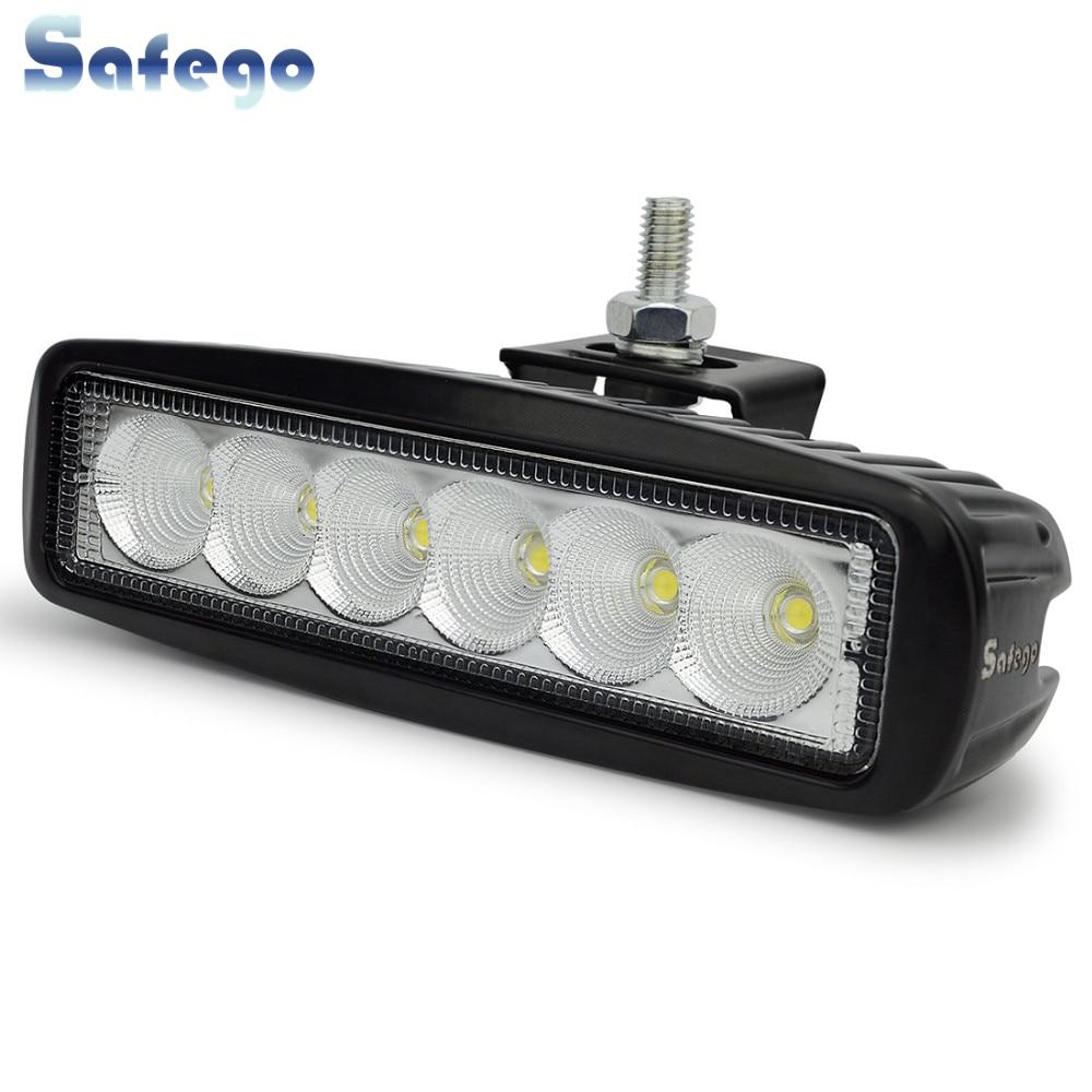 Safego 18w barra de luz de trabajo led 12V spot lámpara de niebla de - Luces del coche