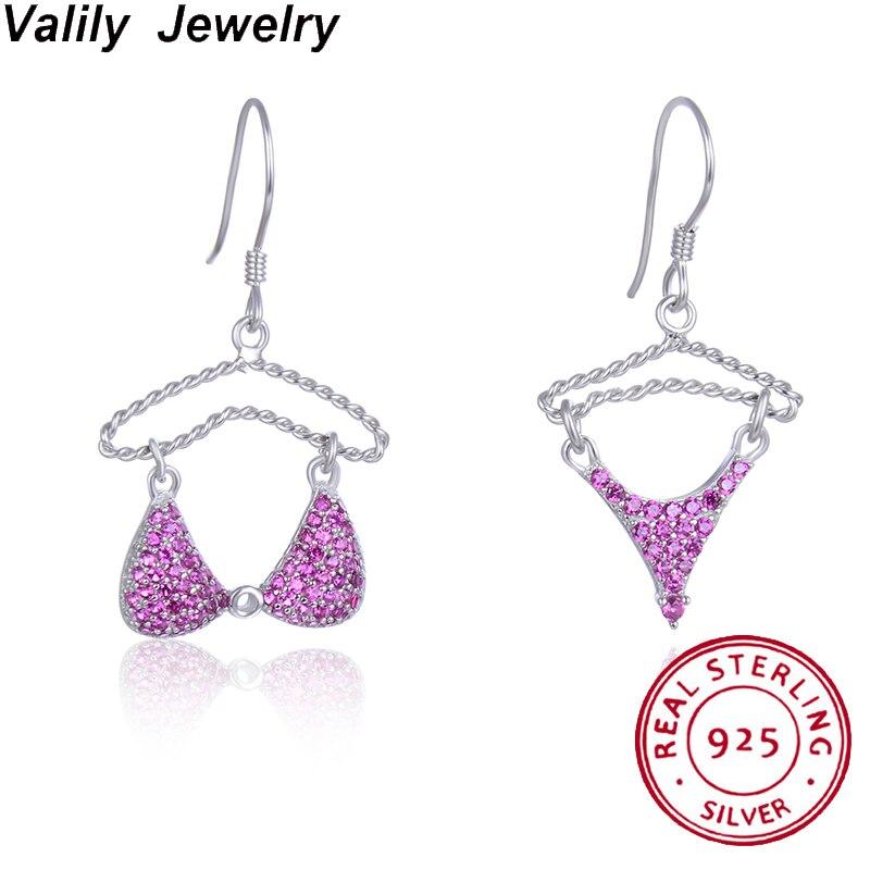 Valily 925 Sterling Silver Drop Earrings Underware Zircon Earrings Paved Pink Crystals Hanger Hook Earrings personality Jewelry