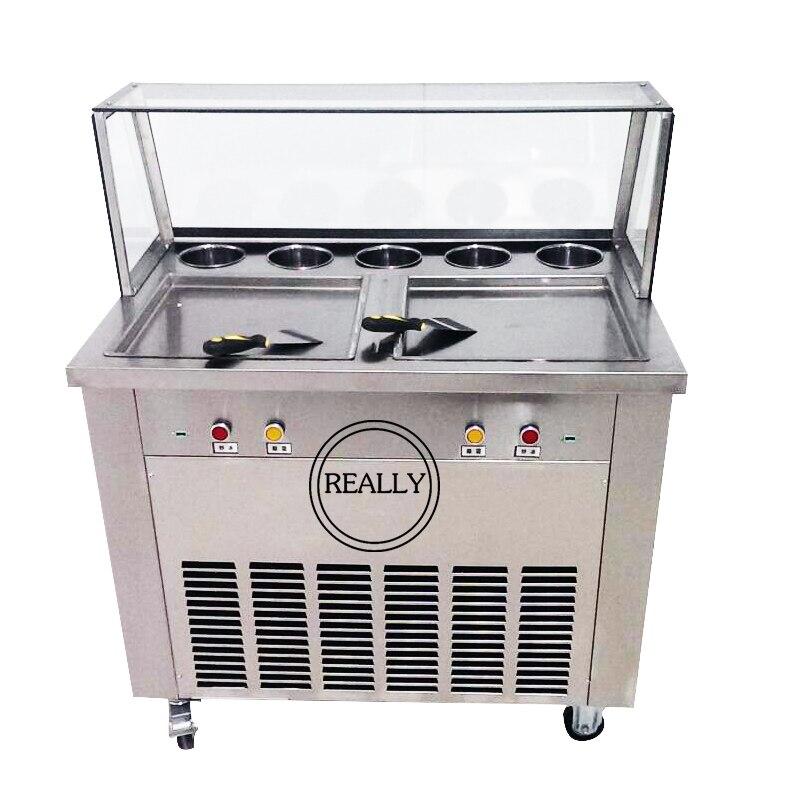 Livraison gratuite les casseroles carrées doubles 110 V avec 5 réservoirs de garniture de machine à rouleaux de crème glacée frite avec réfrigérant R410A