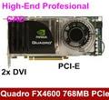 Alta qualidade nvidia quadro fx4600 768 mb 384bit ddr3 pci-e x16 dual dvi placa de vídeo gráfico profissional high-end cad