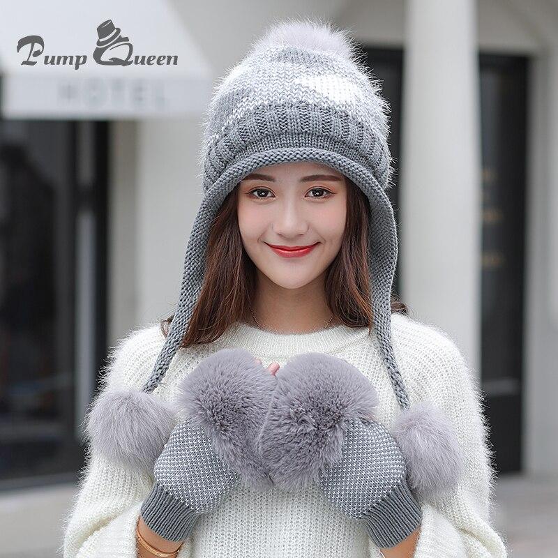 Pump Queen Winter Fur Pompom Knitted Hat Women Gloves Caps Mask Gorras Bonnet Warm Winter Hats For Girls   Skullies     Beanies   Hats