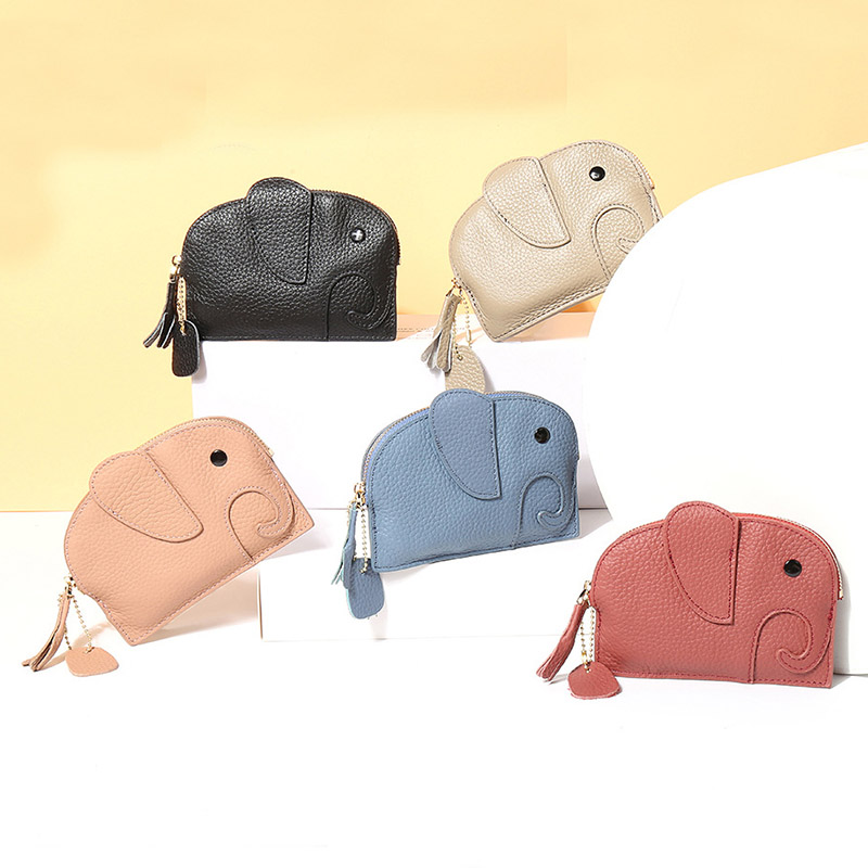 New Genuine Leather Animal Coin Purse Women Mini  Small Bags Lovely Girls Clutch Change Purse Kawaii Wallet Elephant Coin Bag