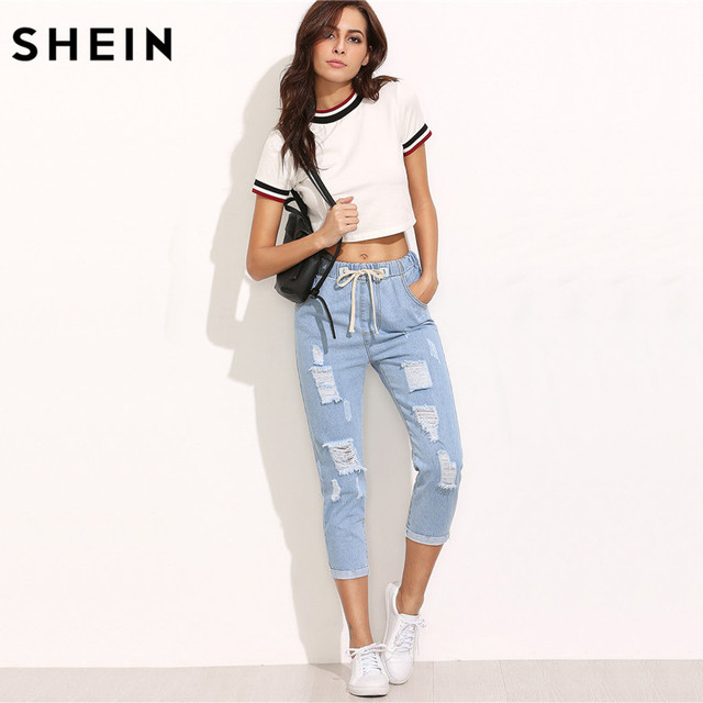 SHEIN Women Summer Pants Casual Trousers for Ladies Blue Ripped Mid Waist Drawstring Skinny Denim Calf Length Jeans 3
