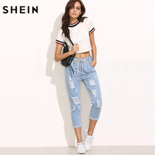 SHEIN Women Summer Pants Casual Trousers for Ladies Blue Ripped Mid Waist Drawstring Skinny Denim Calf Length Jeans