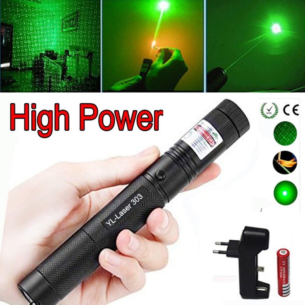 Caça verde mira laser de alta potência ponto verde tático 532 nm 5 mw laser 303 ponteiro verde lazer caneta queima jogo