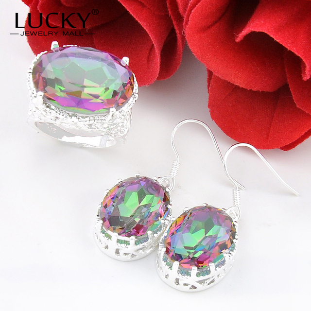 Lucky Mall Best Seller Jewelry Set Rainbow Mystic Synthetic Topaz Earring/Ring High Quality Women Wedding Party Set Bijoux