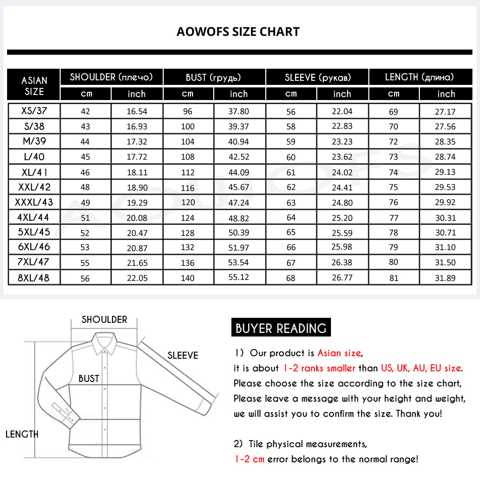 Male Dress Shirt Sizing Chart - DREAMWORKS