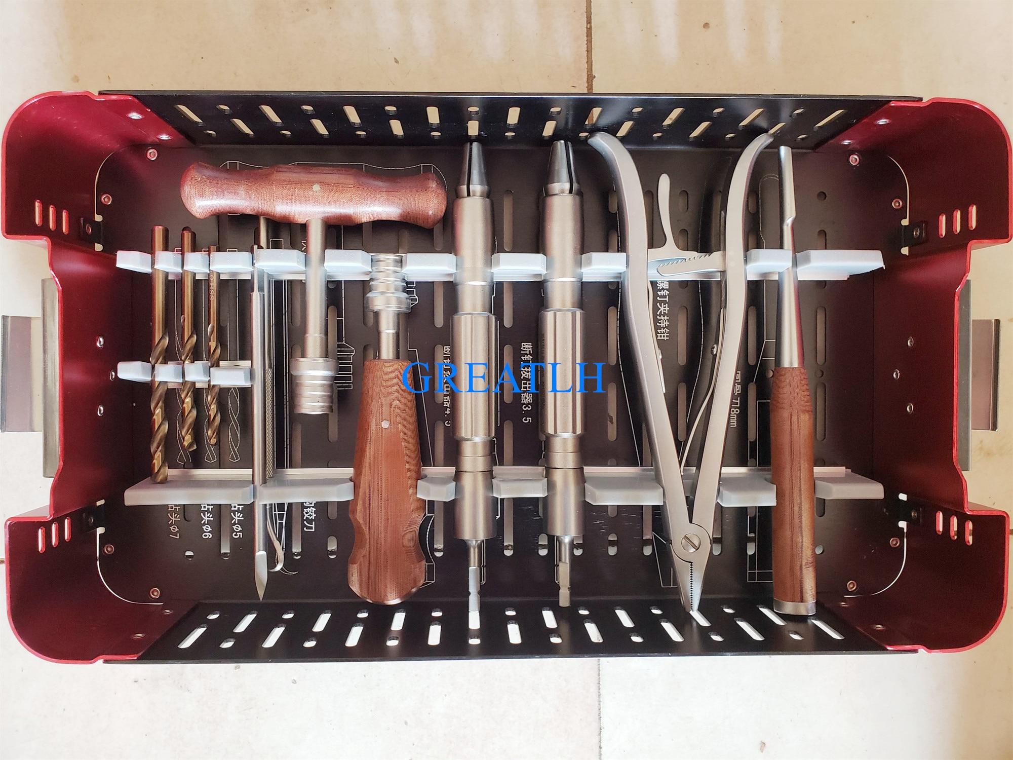 Ensemble d'instruments de retrait cassés par vis d'extracteur de vis cassé par orthopédie de 56 pièces/ensemble