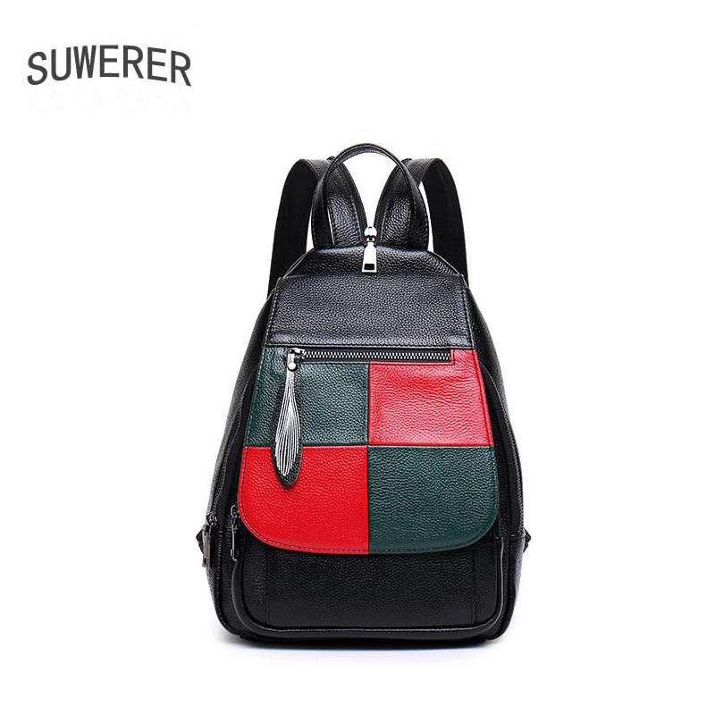SUWERER 2019 New women Genuine Leather bag fashion real Cowhide Luxury women famous brand tote women leather backpackSUWERER 2019 New women Genuine Leather bag fashion real Cowhide Luxury women famous brand tote women leather backpack