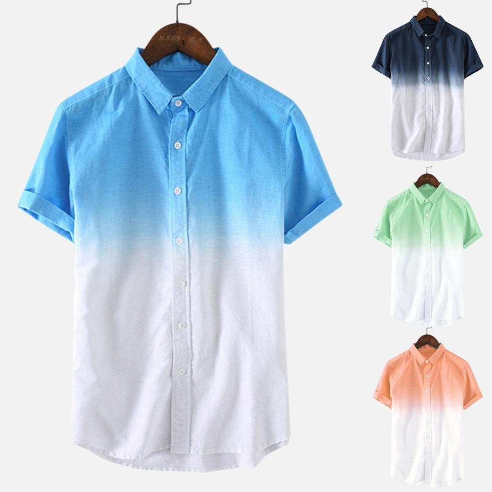 рубашка мужская Mens Shirt Men's Loose Blouse Breathable Short Sleeve Turn-Down Collar Gradient Shirt Camisas Hombre Plus Size