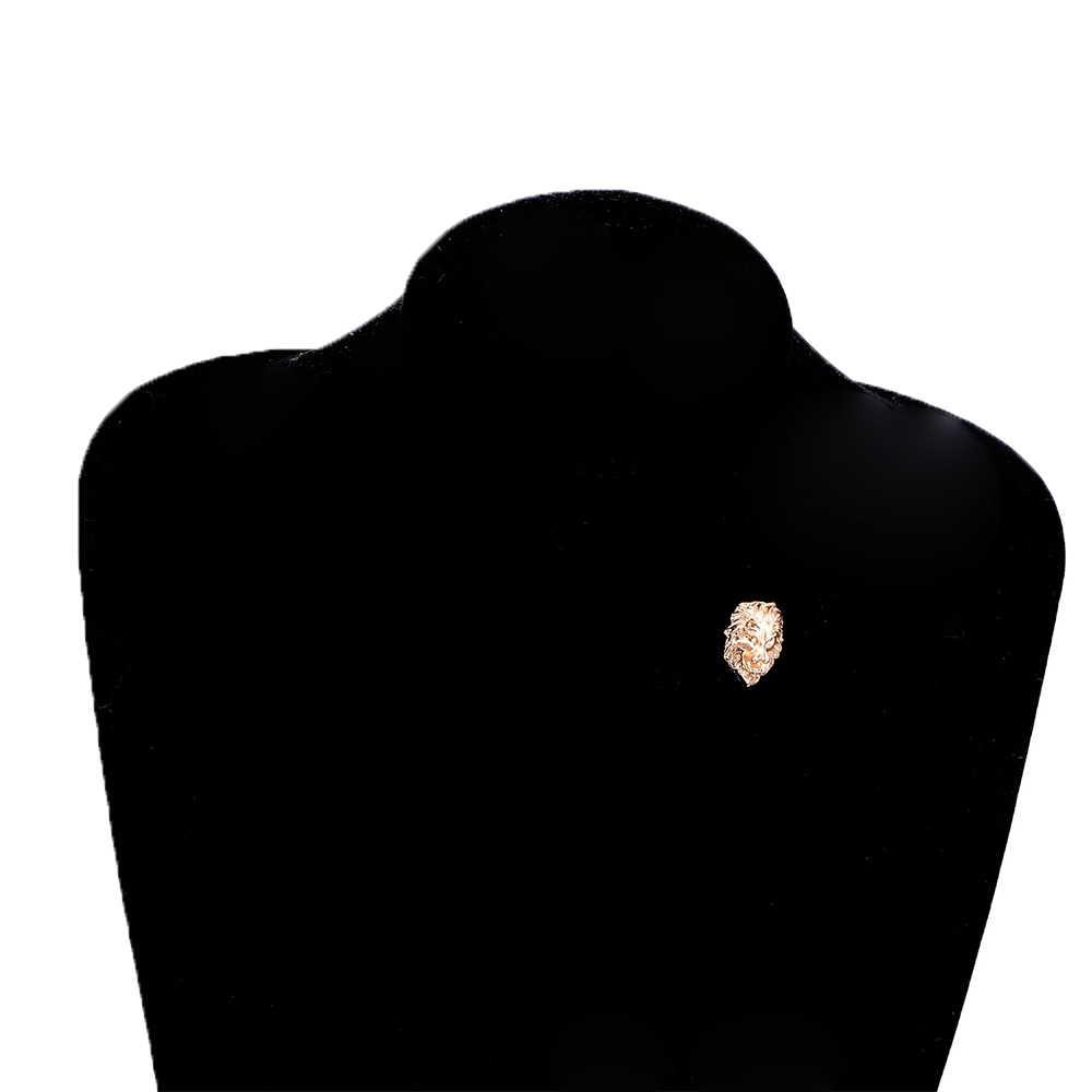 1 ペアゴールドライオンヘッド横暴なユニセックス襟針レトロバッジクール救済ライオンヘッド男性/女性シャツスーツの襟ピン