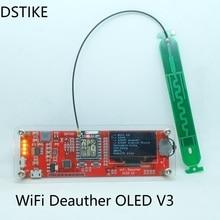 Dstike Wi-Fi deauther o светодиодный V3 (esp8266 + O светодиодный + чехол + Телевизионные антенны) esp32 радио 18650 зарядное устройство ЖК Power Bank светодиодный свет USB Arduino