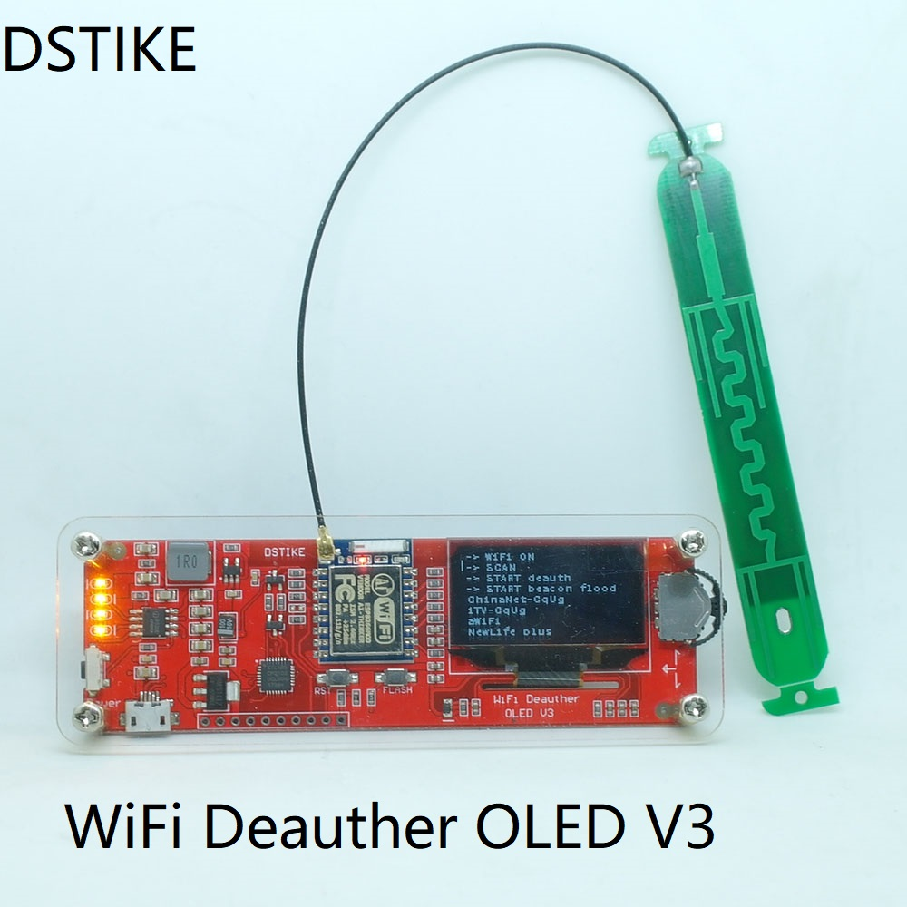 WiFi deauther OLED V3 ( ESP8266+OLED+Case+External 8dB antenna) WiFi Attack/Control/Test Kit NodeMCU 18650 battery charger usb oled ������������������