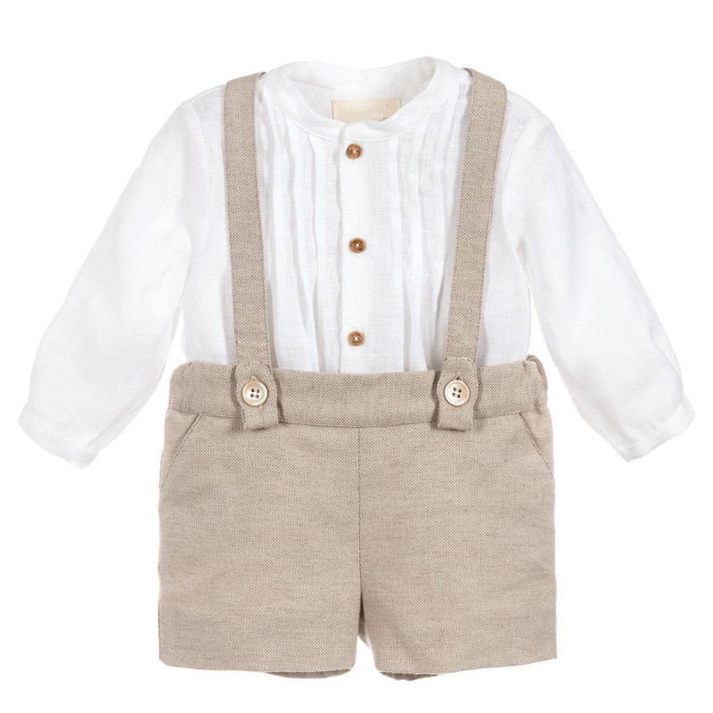 Brand Baby Boy Clothes Set Boys Poly Cotton Christening Baptism Romper Outfit Infant Long Sleeve Shirt Short Overalls Birthday baby boys kids formal suits summer boy gentleman clothes set short sleeve shirt gray overalls trousers outfit for children