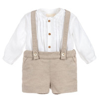Brand Baby Boy Clothes Set Boys Poly Cotton Christening Baptism Romper Outfit Infant Long Sleeve Shirt Short Overalls Birthday