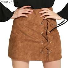 Cuhakci cuero falda zipper split bodycon casual corto Faldas 2017 mujeres  Cruz vendaje alta cintura lápiz falda otoño d052 e030a80d9de4