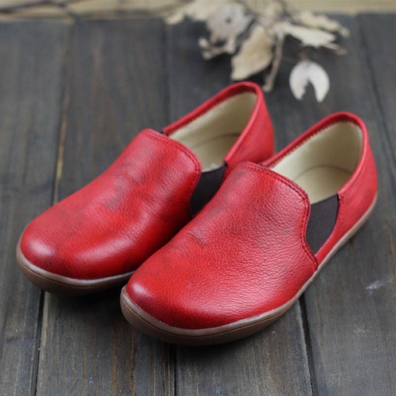 Ballerinas Women Barefoot Flat Shoes women Genuine Leather Slip on Female Shoes Flat Soles Plus Size