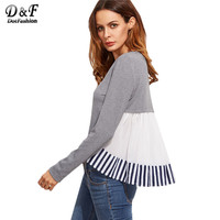 Dotfashion Striped Ruffle Back High Low Casual T Shirt Grey Long Sleeve Cute Top 2017 Woman