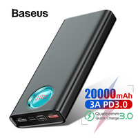 Baseus Power Bank 20000mAh Quick Charge 3.0 PD Fast Charging Powerbank Portable External Battery Charger Poverbank For Xiaomi