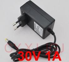 1 шт. 30 в 1000мА AC 100 в 240 в адаптер преобразователя DC 30 в 1A 1000мА источник питания штепсельная вилка европейского стандарта 5,5 мм x 2,1 мм