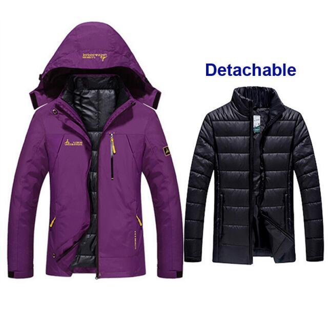 Femmes hiver imperméable pêche thermique chaud grande taille Trekking randonnée Camping ski escalade 3 en 1 vestes d'extérieur étanche