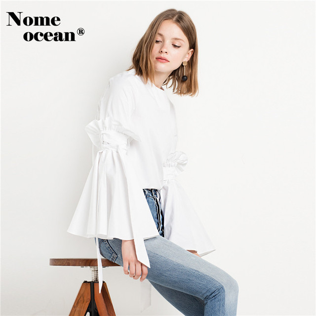 99480b148cd90 BELLA TIE BELL SLEEVE TOP 2018 New Women Shirts Tied Bow Flare Cuffs White Shirt  Blouses Long Sleeve Tops of Women M16110901