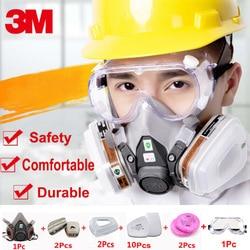 18 في 1 3m 6200 نصف الوجه تنفس قناع واقي من الغاز مع 3m 1621 نظارات الطلاء رش صناعة السلامة الكيميائية قناع الغبار