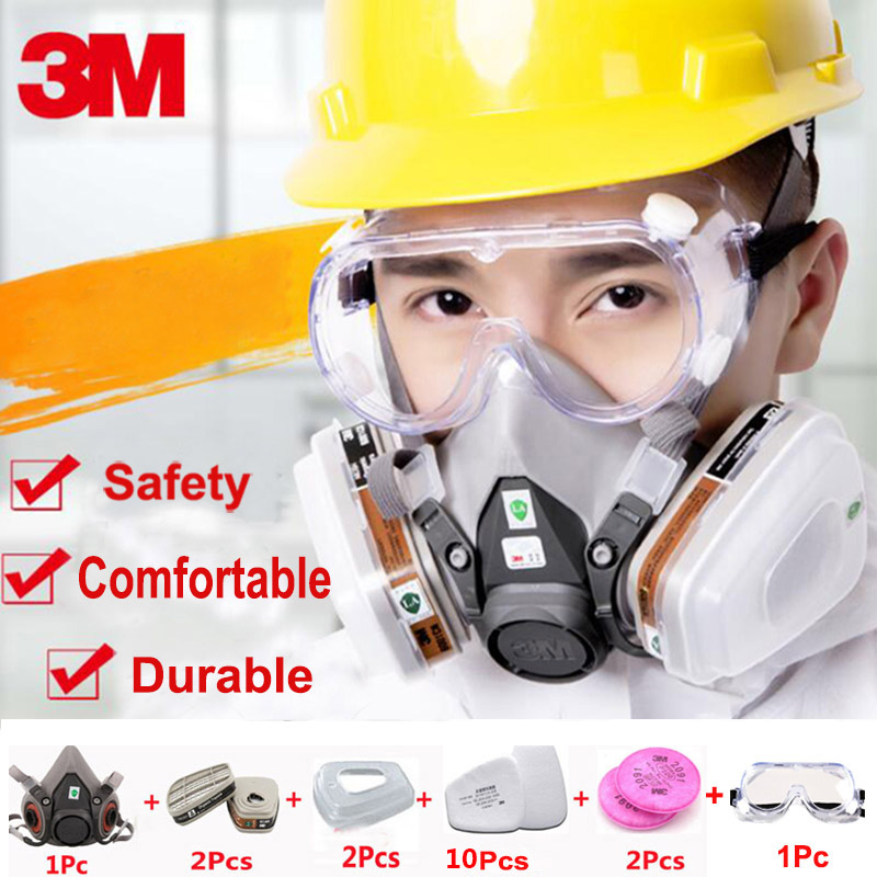 18 in 1 3M 6200 Half Face Respirator Gas Mask With 3M 1621 Goggles Painting Spraying Industry Safety Chemcial Dust Mask 3m 7502 18 in 1 suit spraying painting respirator gas mask half face anti dust mask with 1621 safety protection goggles