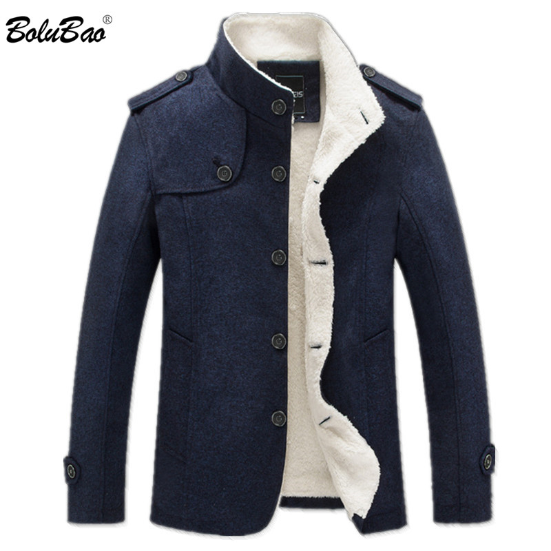 BOLUBAO Winter Men Coat Fashion Brand Clothing Fleece Lined Thick Warm Woolen Overcoat Male Wool Blend Men's Coat
