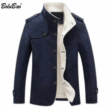 BOLUBAO Winter Men Coat Fashion Brand Clothing Fleece Lined Thick Warm Woolen Overcoat Male Wool Blend Men\'s Coat