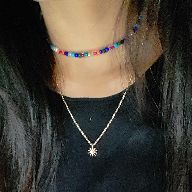 2019 New Fashion Colorful Yellow Black Red Beads Choker Necklace Simple Elegant Summer Necklace For Women Collar Jewelry Gift