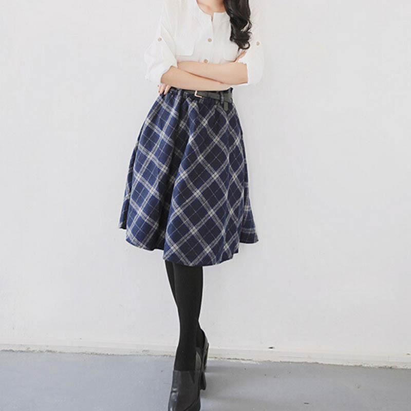 2018 Women Plaid Skirts Tartan Woolen Plaid Skirts Kilt Winter Wool Umbrella A Line Vintage Plaid Skirt Pleated Wool Skirts