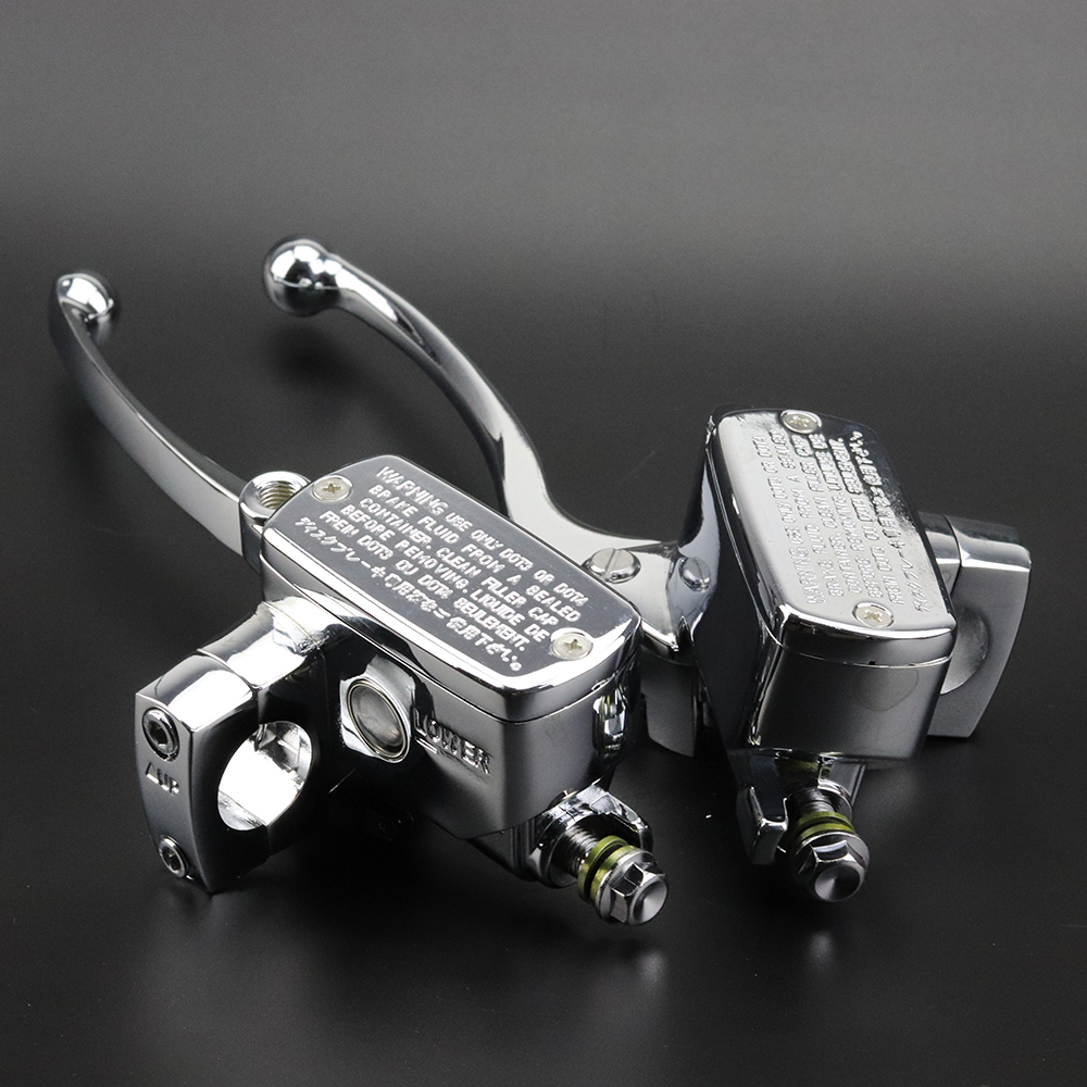 Fit Harley Honda Suzuki Kawasaki Yamaha BMW Chrome Universal Motorcycle 1 25mm  Handlebar Brake Clutch Master Cylinder Levers for harley yamaha kawasaki honda 1 pair universal motorcycle saddle bags pu leather bag side outdoor tool bags storage undefined