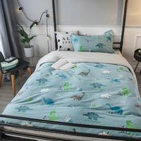 2019 INS Green Blue Dinosaurs Dormitory 3pcs Bedding Set Twin Hypoallergenic Cotton Bedlinens Duvet Cover Set Single Bed